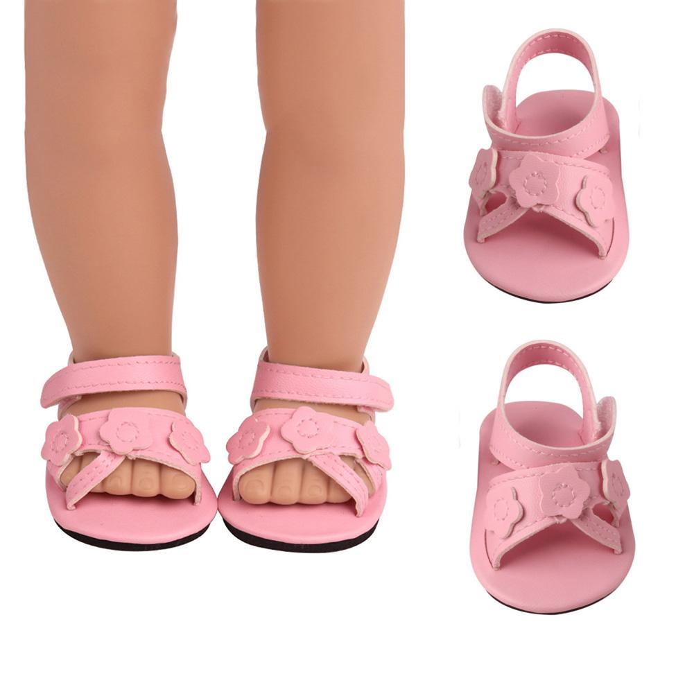 for 18 Inch Girl Doll 7CM Doll Shoes for 43CM Reborn Baby Doll Sandals Summer Pink Shoes Doll Accessories