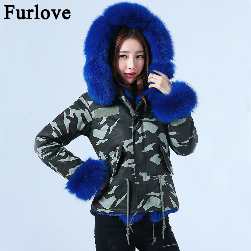 Furlove 2017 new short Camouflage winter jacket women outwear thick parkas natural real fox fur collar coat hooded pelliccia plus size 2017 women outwear long camouflage winter jacket thick parkas raccoon natural real fur collar coat hooded pelliccia