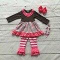 Niñas bebés ropa de boutique de ropa de los niños del bebé trajes de invierno moda infantil floral hot pink stripe ruffle pant con accesorios