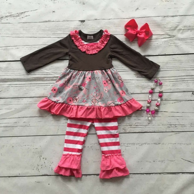 baby girls boutique clothing children winter outfits baby kidswear floral clothes hot pink stripe ruffle pant with accessories