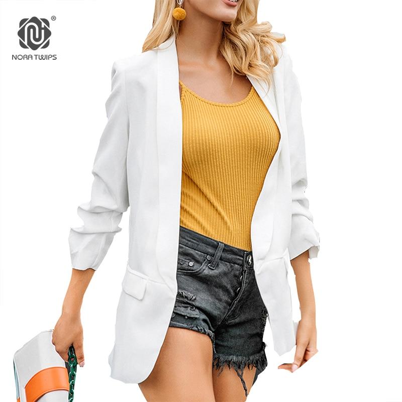 Blazers Women's Clothing Nora Twips Women Blazers 2019 Spring Patchwork Slim Long Sleeve Coat Womens Coat Winter Warm Turn Down Collar Pocket Jacket