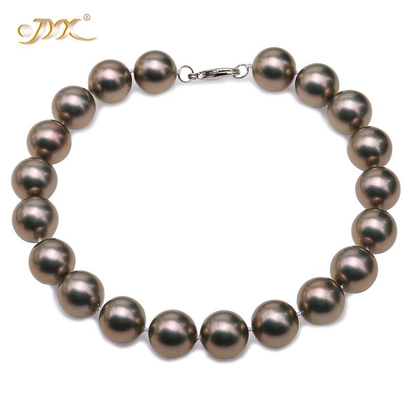 JYX 2019 charmant collier café 20mm coquillage perle ronde perles collier de haute qualité 18