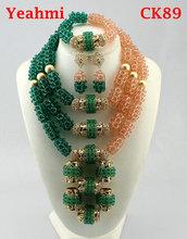 Moda zestaw biżuterii druhna kwiat Choker naszyjniki zestaw kolczyków nigeryjczyk afrykańskie koraliki biżuteria ślubna zestaw kryształ CK89 tanie tanio Zestawy biżuterii TRENDY Żywica Mężczyźni Kobiety Ślub yeahmi Ze stopu cynku Necklace Bracelet earrings Naszyjnik kolczyki bransoletka