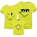 2016 New Summer Smile Mother & Father Children T-shirt New Short-sleeved Family Matching Outfits Parents-child Clothing