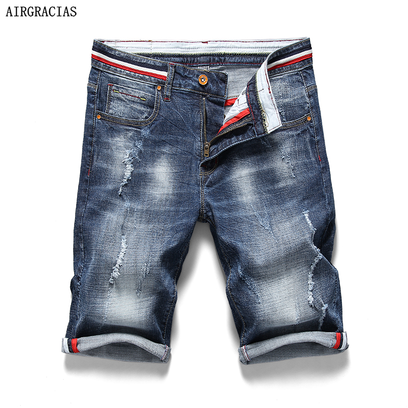 AIRGRACIAS Shorts Men Ripped Short Jeans Straight 98% Cotton Shorts Jean Bermuda Male Denim Brand Clothing Plus Size 28-38