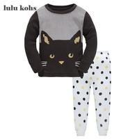 2017 Children Autumn Pajamas Clothing Set Boys Girls Cat Style Sleepwear Suit Set Kids Long Sleeved
