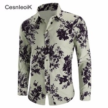 Shirts Men Slim-Fit Long-Sleeve Designer Casual Cotton for Dress C808