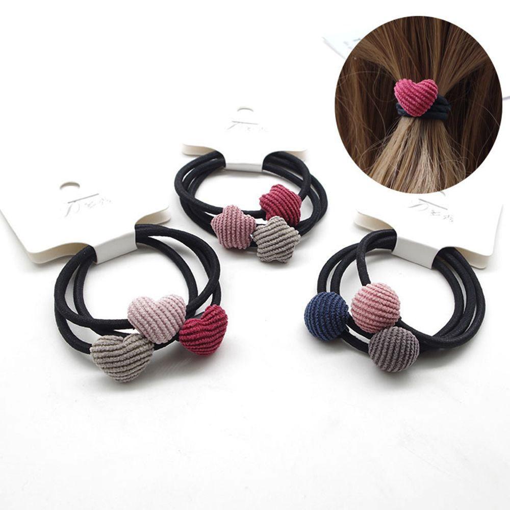 3pcs/set Round Cloth Buckle Rubber Ban Hair Accessoriesd Hair Rope Headband Fashion   Headwear   Elastic Hair Bands Girls