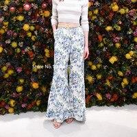 Women Azure Wallpaper Floral Print Breeze Floral Slouch Pants Breeze Bohemian Wide leg Pants With Belt Loops