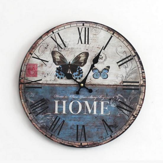 antique vintage rustic  wood wall clock on the wall for home decor gift for child 35cm