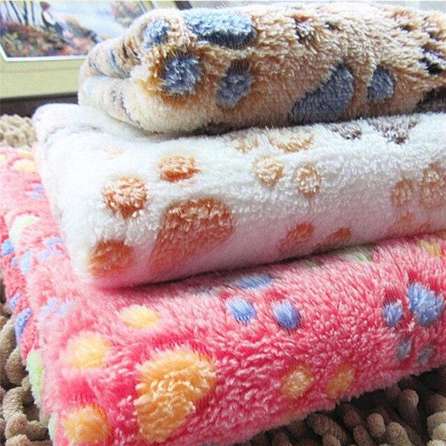 Pets Mat Soft Warm Fleece Paw Print Design Pet Puppy Dog Cat Mat Blanket Bed Sofa Pet Warm Product Cushion Cover Towel 4