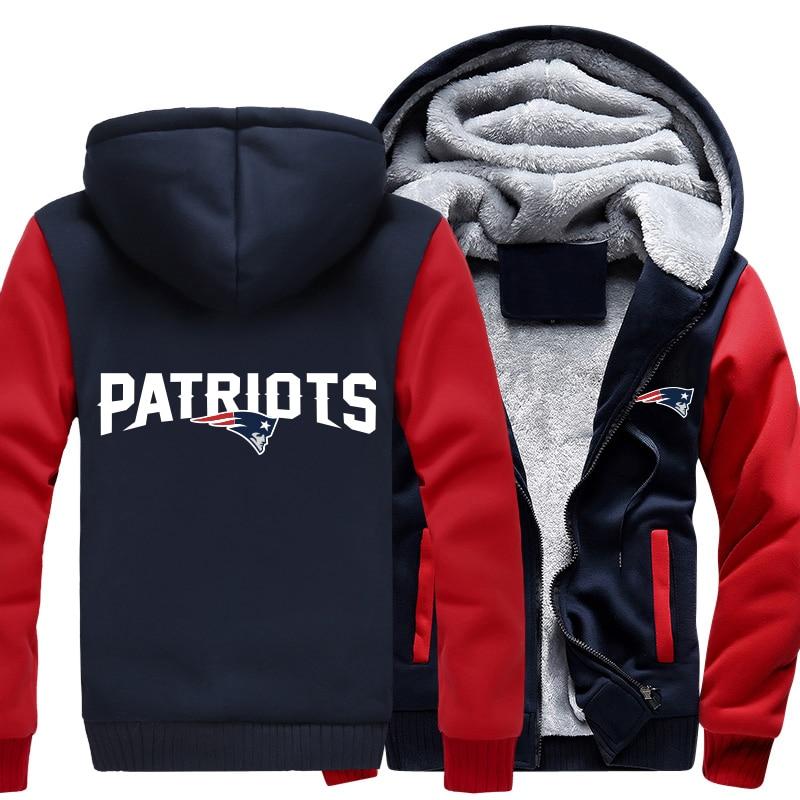 USA size Men Women Patriots Foot ball Team Zipper Jacket Sweatshirts Thicken Hoodie Coat Clothing Unisex Casual