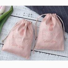 50 sacos de presente de empacotamento da joia cor de rosa dos pces malotes do cordão de veludo da flanela com logotipo