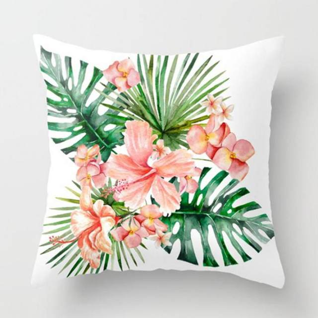 Online shop green leaf cushion small fresh pink flowers artifical green leaf cushion small fresh pink flowers artifical grass indoor plants tropical leaves plush pillow for living room chair mightylinksfo