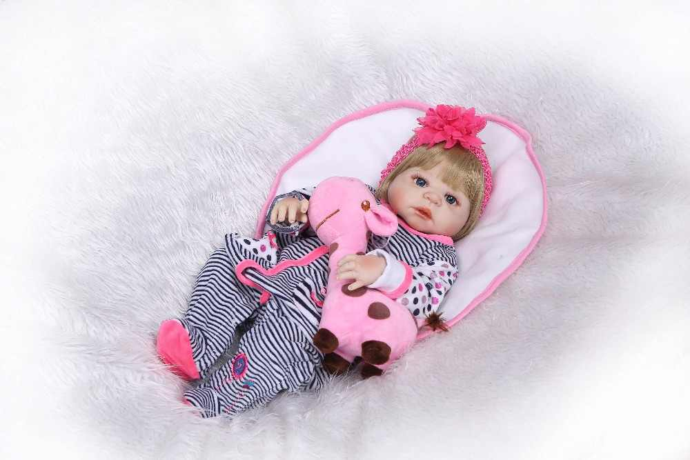 NPK 23 ''реалистичные Reborn Baby куклы светлые волосы младенцы кукла полное виниловое тело реалистичные девушка модель Кукла для ребенок малыш игрушки подарки