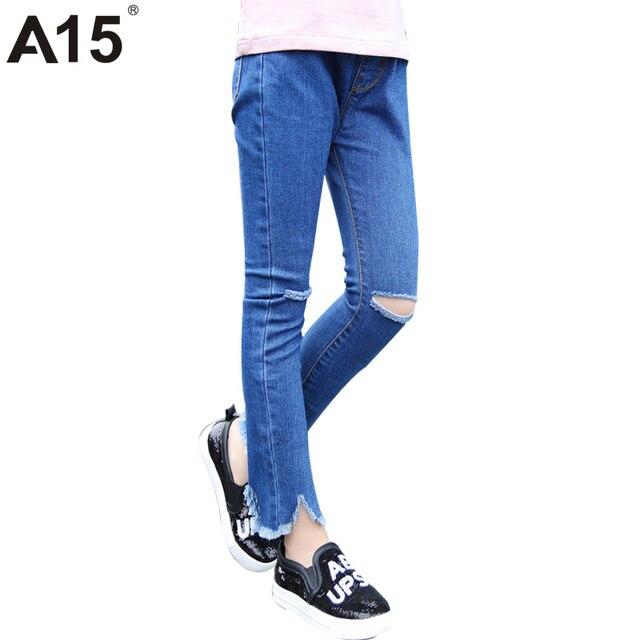 78e6d549d272 A15 Skinny Ripped Jeans for Girl Kids Jeans Girl Leggings Jeans Kids Pants  Children Trousers Kid