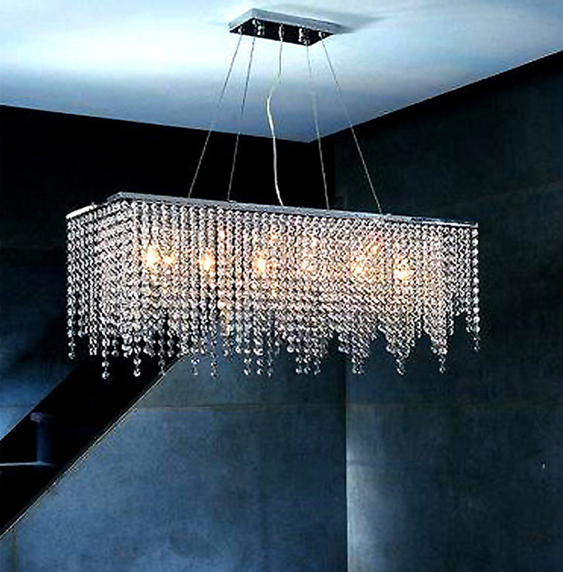 Modern Rectangular Raindrop Crystal Chandelier Pendant Lamp Lighting Fixture for Dining Room