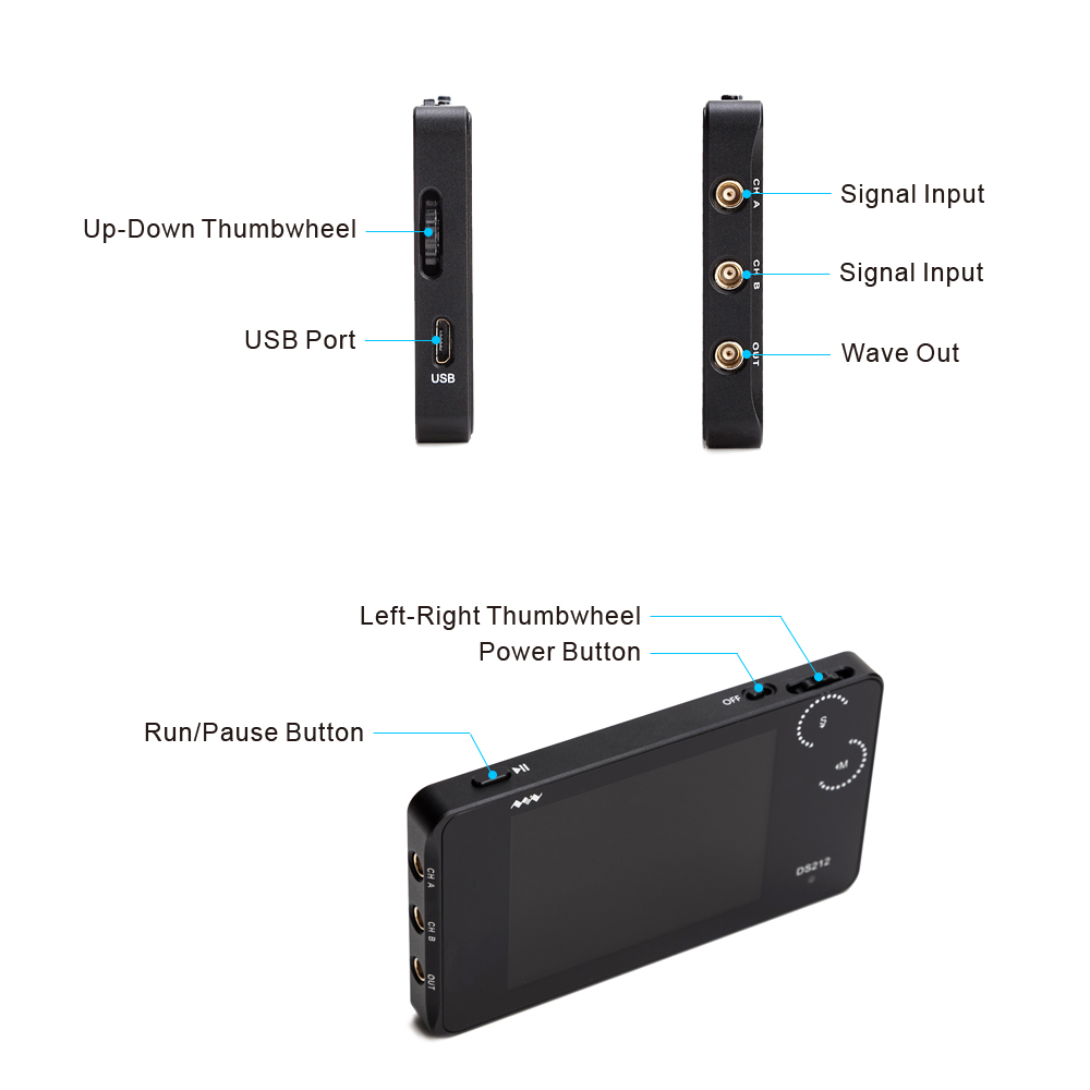 DS212 DSO Portable Mini 2 Channel Digital Oscilloscope Pocket Size USB Interface Full Color TFT Display 8MB Memory Storage цены