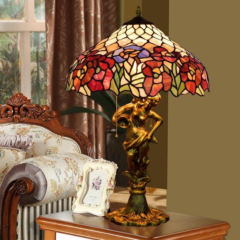 Living Room Lamp Sizes: 40CM European Clematis Art Coloured Glass Hotel, Living