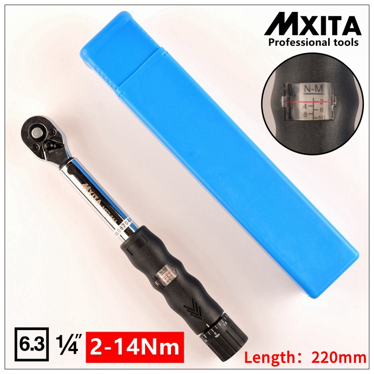 MXITA 1/4DR. 2-14N.m Manual Torque Wrench Spanner Ratchet Wrench Suit For Repairing Bicycle Packed in Plastic Storage Box professional bike repairing inner hexagon spanner wrench black 2 2 5 3 4 5 6mm