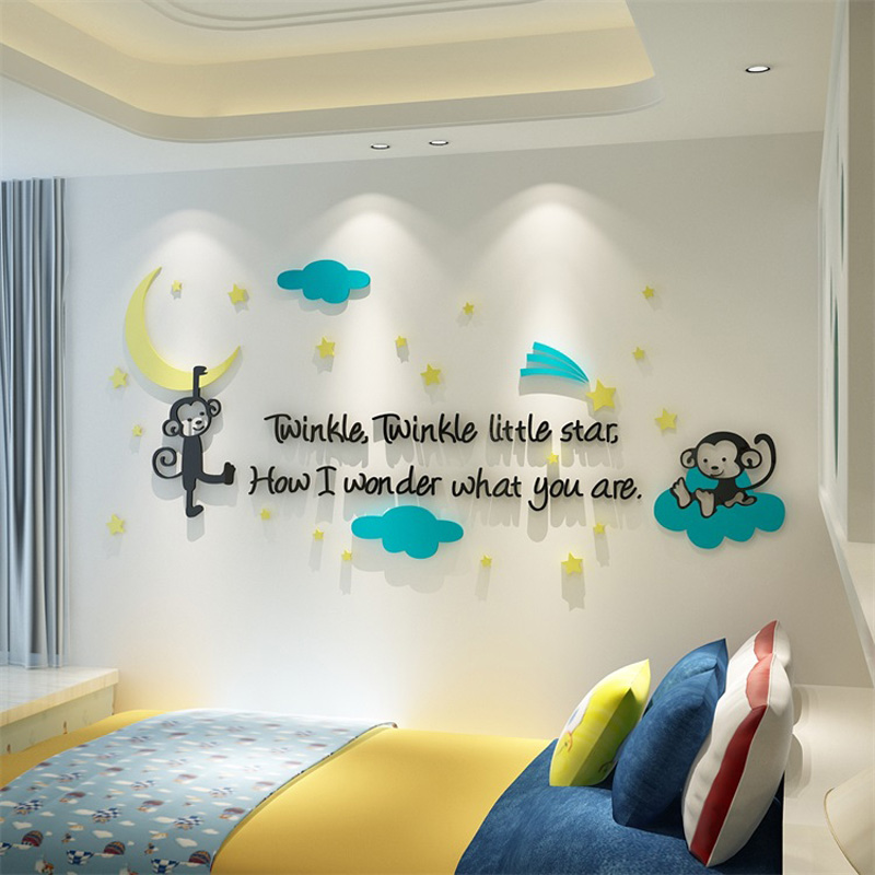 Naughty Monkeys Twinkle Star and Moon Acrylic Wall Sticker Cartoon Stickers Decorations for Baby Room Kindergarten