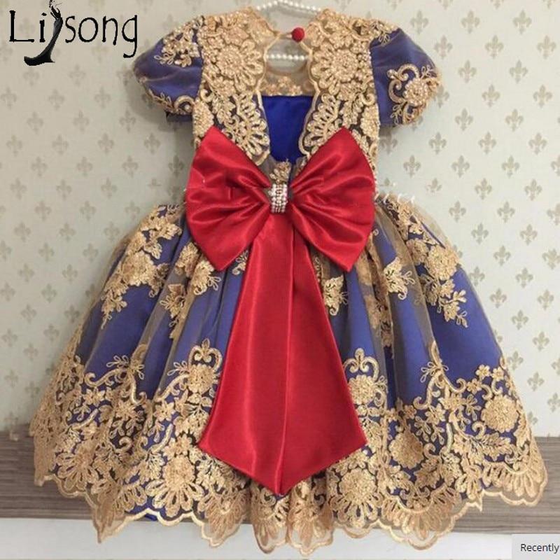 Cute Gold Appliques Knee Length Flower Girl Dresses Pearls Big Bow Pageant Dresses For Girls Kids Communion Dresses Short Sleeve