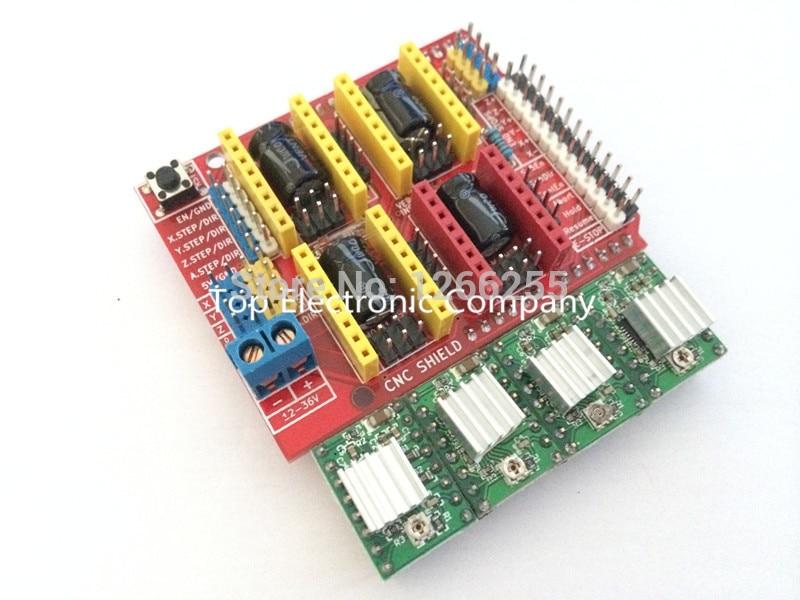 New cnc shield v3 engraving machine / 3D Printer / + 4pcs A4988 driver expansion board for Arduino