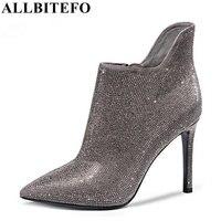 ALLBITEFO sexy talón fino de cuero genuino + pu del dedo del pie puntiagudo tacones altos zapatos de boda Rhinestone de la manera de las mujeres cargadores del tobillo