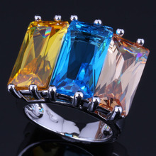Smooth Huge Rectangle Sky Blue Yellow Brown Cubic Zirconia 925 Sterling Silver Ring For Women V0542