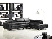 Cuero de vaca genuino juego de sala sofá seccional / sofá de la esquina sofá sofás negro top graduado cuero