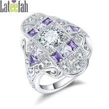 0f7334cbeca5 Lateefah art deco lujo Anillos de compromiso para las mujeres vintage  joyería púrpura blanco cubic zirconia anillo de boda afili.