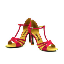 YOVE Dance Shoes Satin Women's Latin/ Salsa Dance Shoes 3.25″ Flare High Heel More color LD-1125