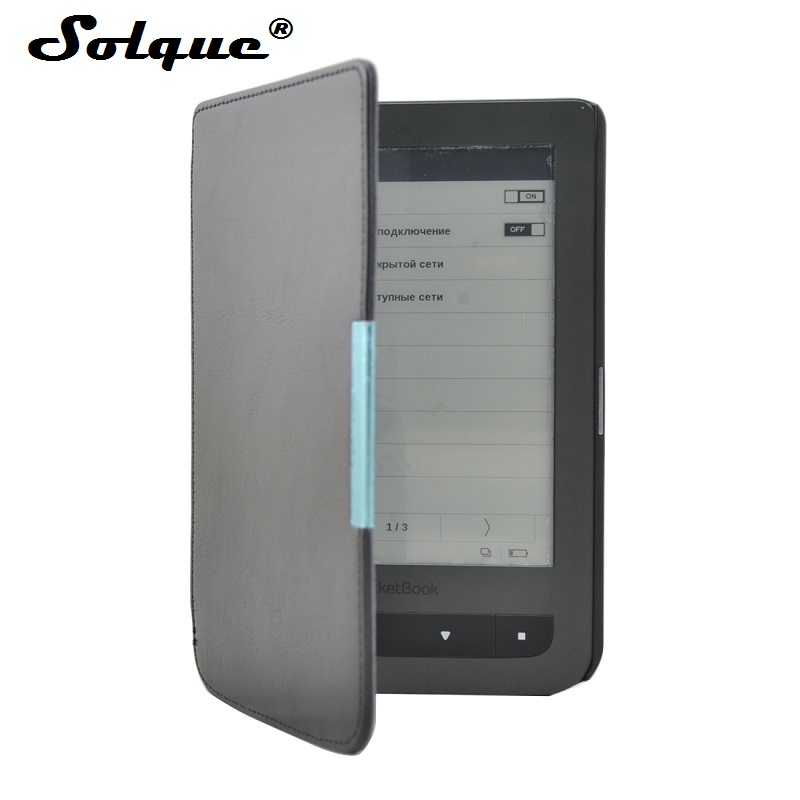 Solque PU Leather EBook Case For Pocketbook 624 Ultra Slim Flip Cover For Pocket Book Touch