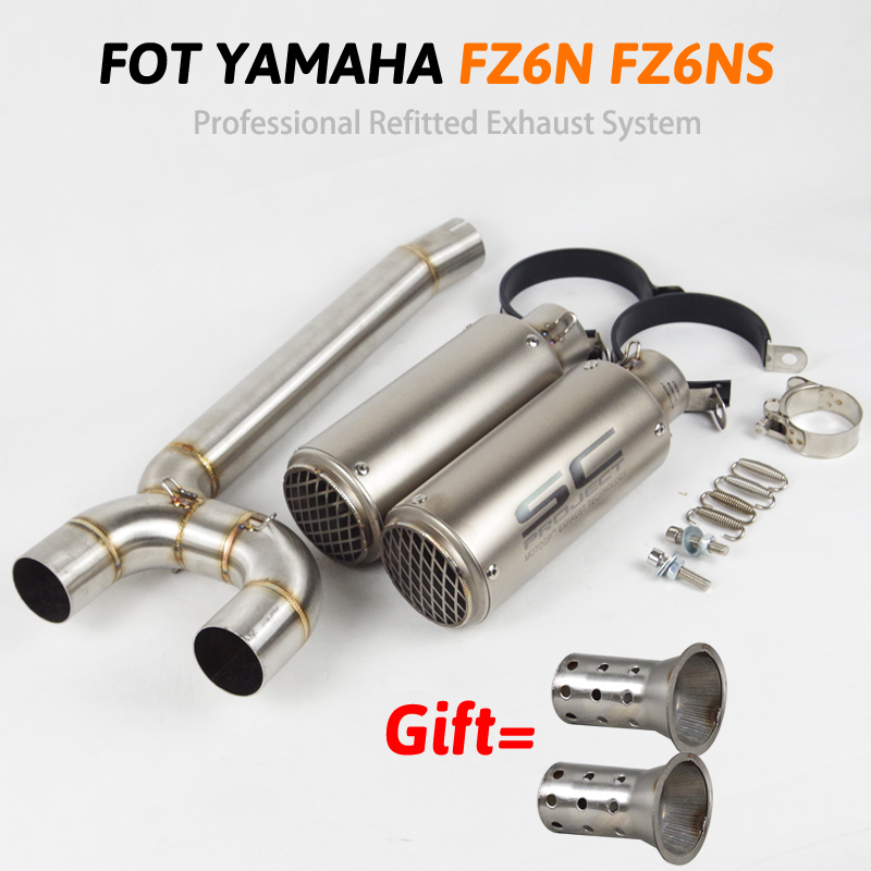 FZ6N Motorcycle Exhaust Full System Pipe Esape Stianless Steel Middle Link Pipe Motorbike Muffler Slip On For Yamaha FZ 6N FZ 6S|Exhaust & Exhaust Systems| |  - title=