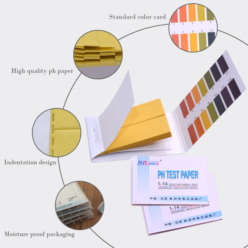 50 Pieces / Lot Ph Test Paper 1-14ph Wide-band Test Strip Portable Paper Litmus Tester / New Measurement and Analysis Instrument