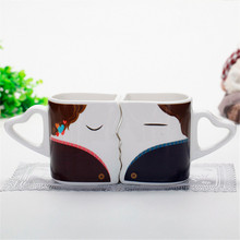 Special Design Kiss Coffee Mugs Three Colors Handgrip couple Gift Color Changing Two sets For friends Gift Milk Mugs Tea Cup