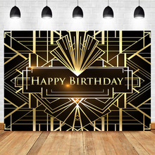 NeoBack The Great Gatsby Theme Birthday Backdrop Lrregular Black and Gold Stripe Photography Background 1920s Photo