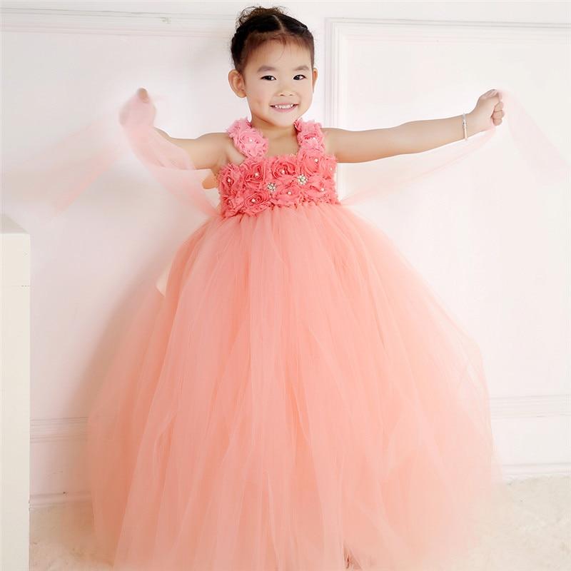 Handmade Peach Baby Girl Tutu Dress Tulle Princess Flower Girl Dress Kids Party Pageant Birthday Bridesmaid