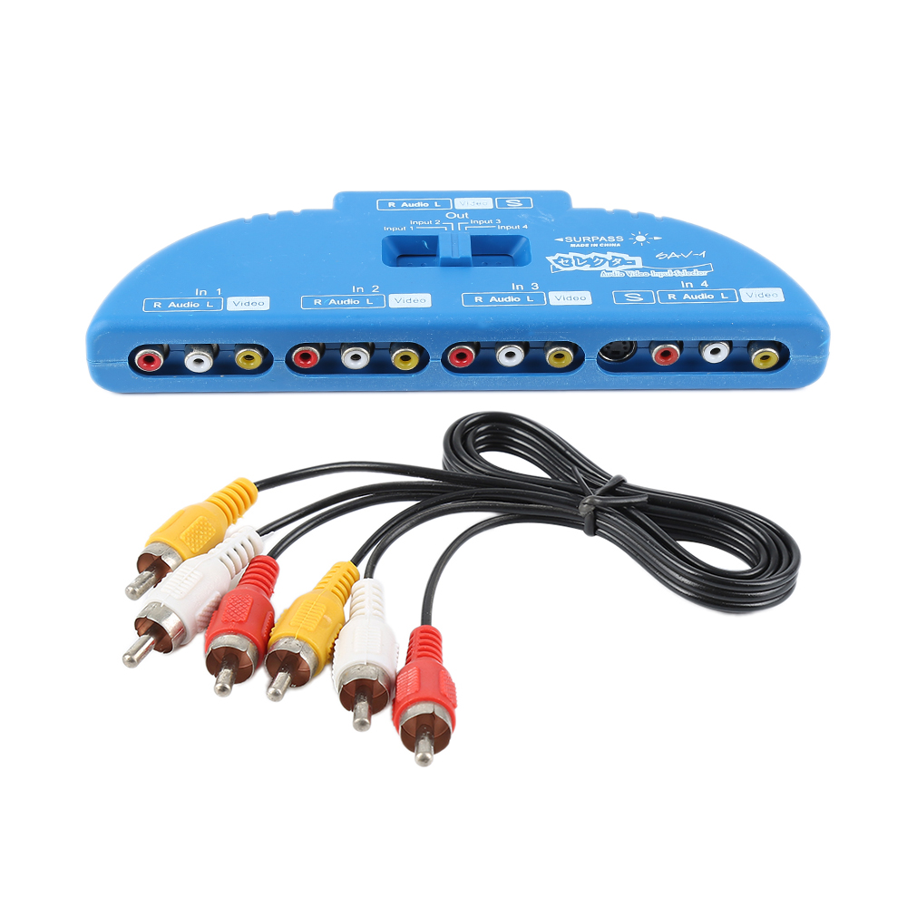 4 Way In 1 Out Adapter Converter Box Audio Video AV RCA Switch With AV Cable Game Selector Box For DVD TV VCD GVME VCR