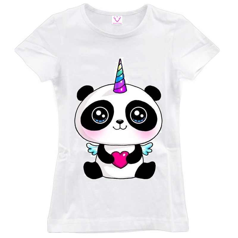 eefdb6004 Panda little angel keep calm and be a pandicorn t shirt Women casual T-Shirt
