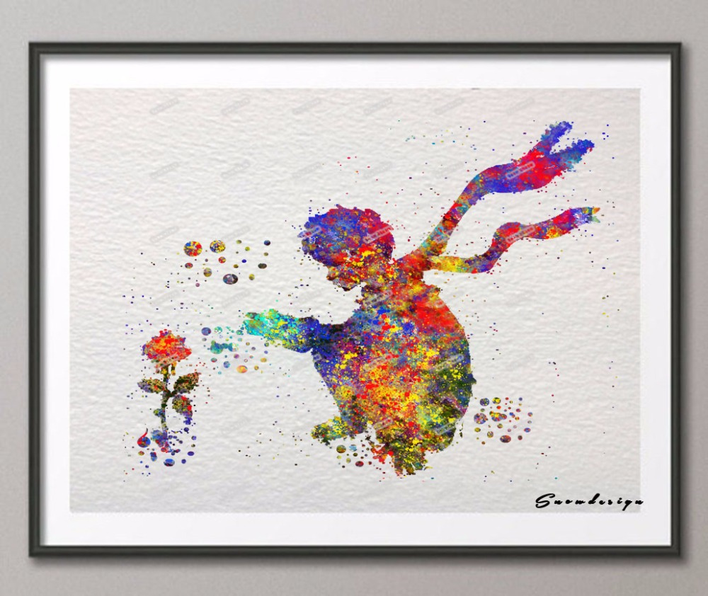 Diy original watercolor the little prince with rose wall for Wall art painting