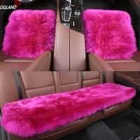 OGLAND Hotsale Long Wool Leather car seat cover set for adult Fur Cushion vehicle accesorios Para Auto Australian Sheepskin 3pcs