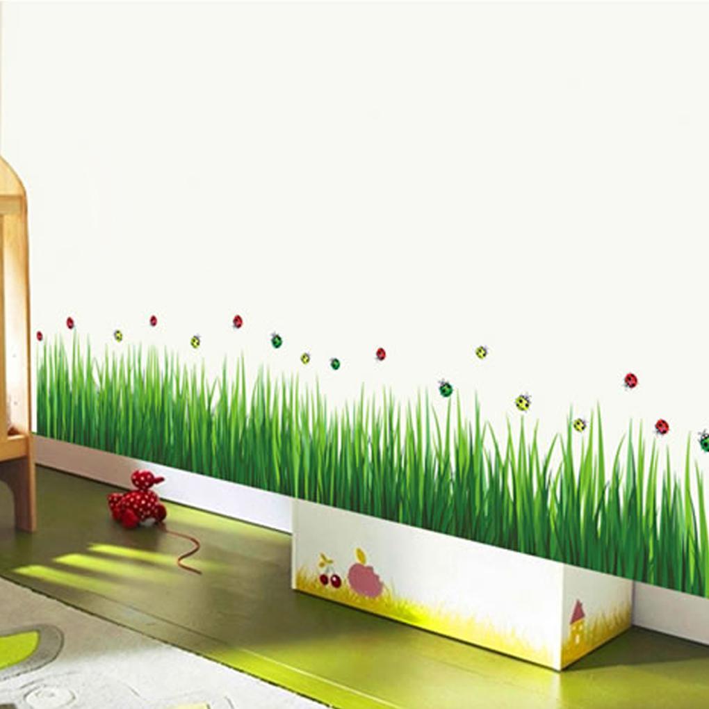 Buy fashion removable diy green grass skirting line nursery kindergarten home Home decor line wall stickers