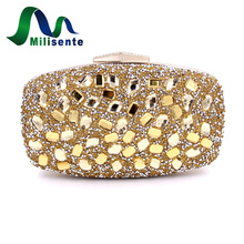 Milisente Diamond Purple font b Clutches b font Women font b Clutch b font Bag Gold