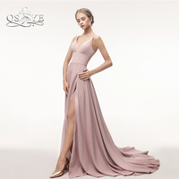 QSYYE 2018 New Long Prom Dresses Robe de Soiree Sweetheart Sexy High Slit Stretch Satin Formal Evening Dress Party Gowns