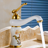 Free shipping jade stone bathroom faucet with single handle bowlder faucet of top quality brass basin mixer taps