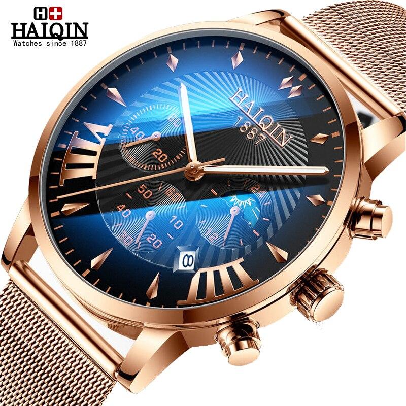 HAIQIN relógios dos homens Top marca de luxo relógio dos homens de Negócios cinto De Malha De Ouro homens fase Da Lua relógio de pulso Relogio masculino