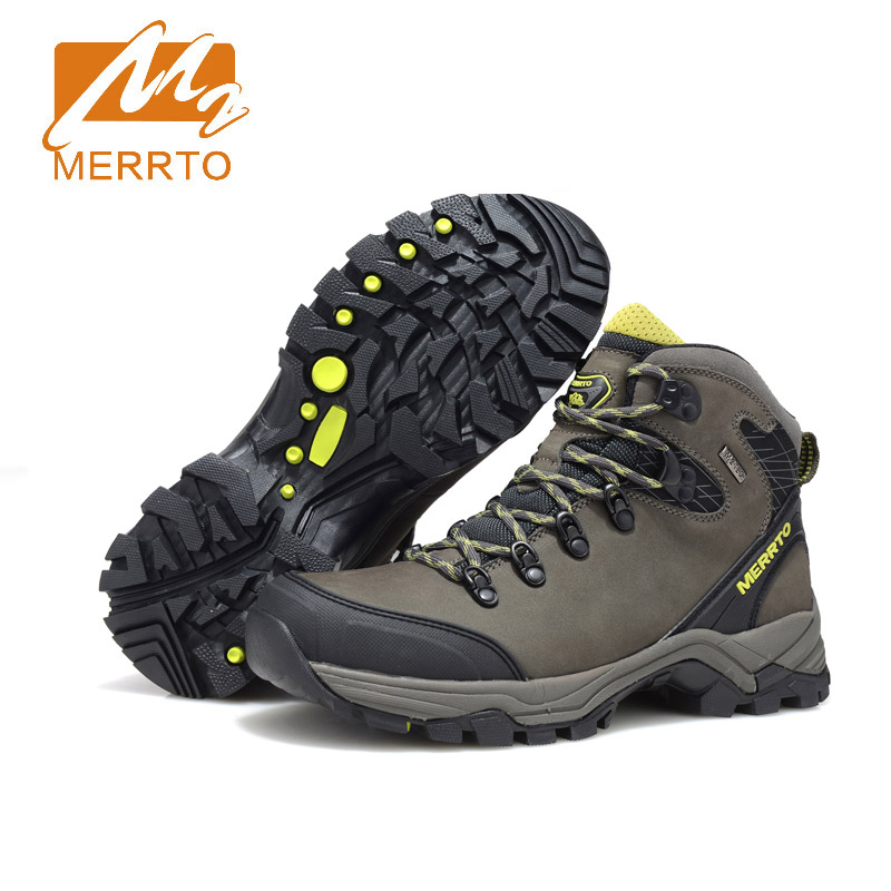 Merrto Genuine Leather Waterproof Hiking Boots Outdoor Breathable Waterproof Hiking Shoes Men Winter Boots For Walking Trekking merrto men s waterproof outdoor shoes mountain breathable genuine leather hiking shoes anti skid cowhide damping walking shoes