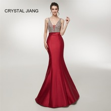 CRYSTAL JIANG 2019 Hot Sale Sexy V Neck Heavy Beaded Red Elastic Satin Open Back Mermaid Dress Formal Evening Dresses Long