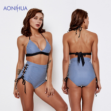 AONIHUA 2019 New lattice High Waist Bikini Women Swimsuit Padded Bra Swimwear Triangle Bather Suit Swimming
